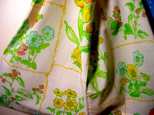 Closeup of fabric pattern on pillowcase upcycled Charlie Bag
