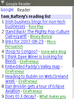 Google Reader on Nokia E65