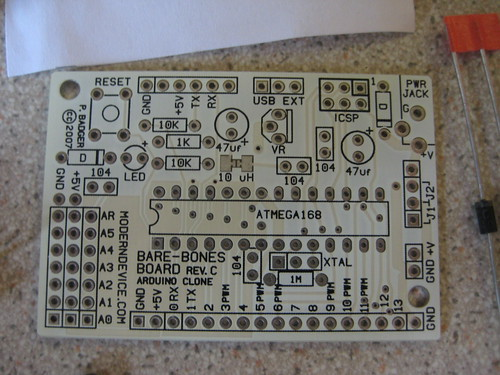 A view of the top of the Bare Bones Arduino PCB.