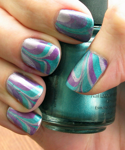 My first water marbling manicure (right)