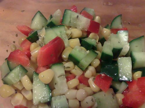 Corn, cucumber and capsicum salsa