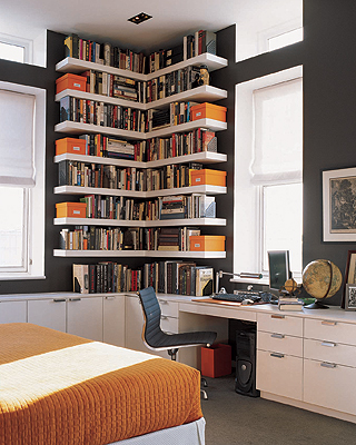 ideas for small spaces custom bookshelves dark walls iron mountain by - Benjamin Moore Creme Brulee
