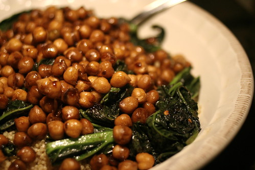 balsamic glazed chickpeas over mustard greens