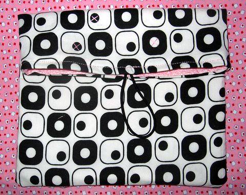 Pink & black artsy clutch - unfinished