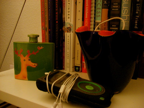 deer flask and books and ipod