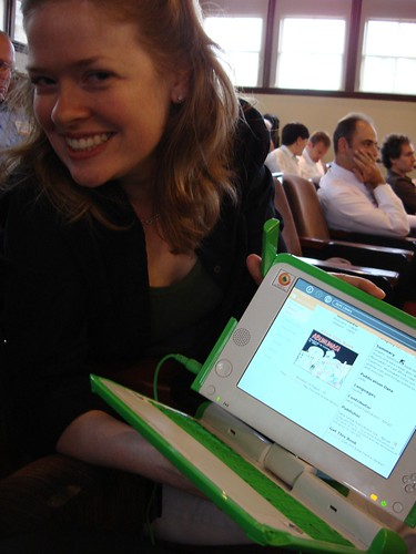 Julie with the XO-1 (formerly  known as the $100 laptop)