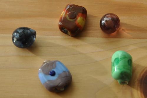 Handmade glass beads.