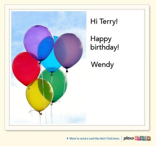 Plaxo Birthday eCard from Wendy