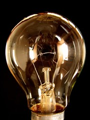 Lightbulb clear on black background