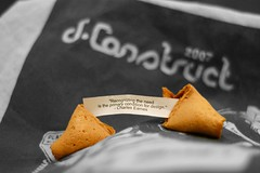 Fortune cookie with design wisdom and dConstruct 2007 bag