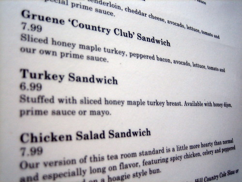 Turkey Sandwich on Menu