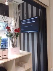 Windows opstartscherm in etalage computerwinkel.