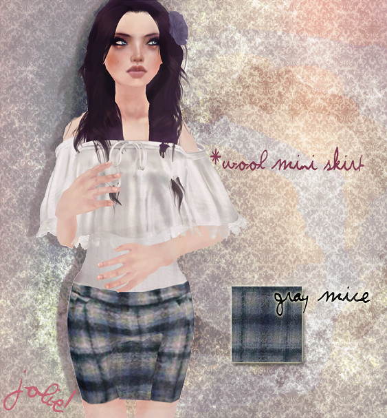jOLIE! Wool mini skirt mice gray
