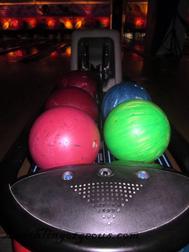 Funky colored bowling balls