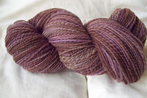 purple-brown merino skein