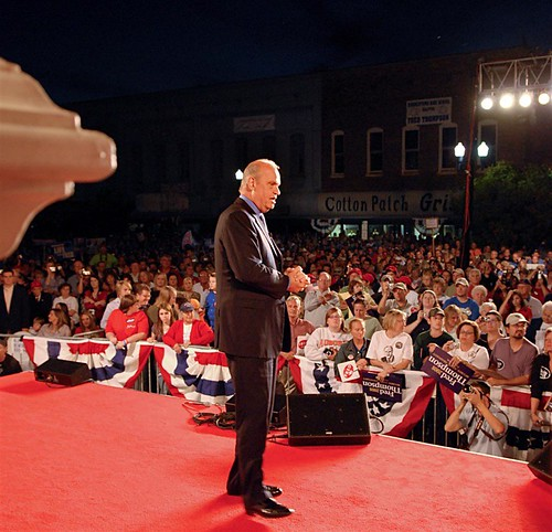 Fred before a packed house