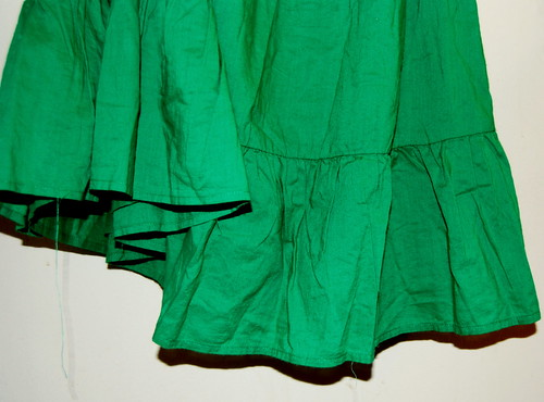 green dress...hem unraveling :(
