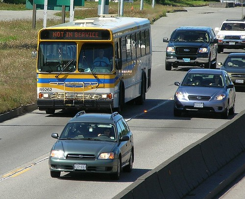 Orion V southbound on Highway #99 approaching Massey Tunnel