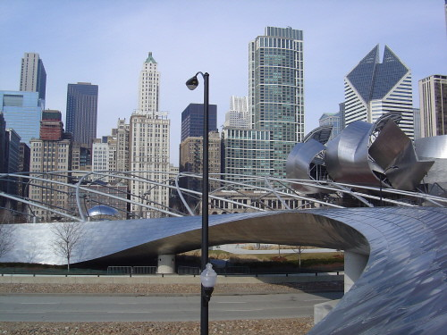 Jay Pritzker Pavilion as seen from the BP Bridge