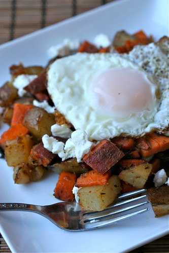 Two Potato Hash with Bacon, Goat Cheese, and an over-easy egg