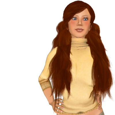 'mofumofuhair' in orange-brown - Available in six colours for Second Life