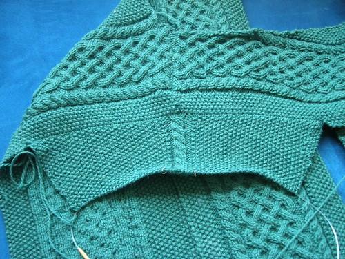 Dan's Aran: Sleeve in progress.