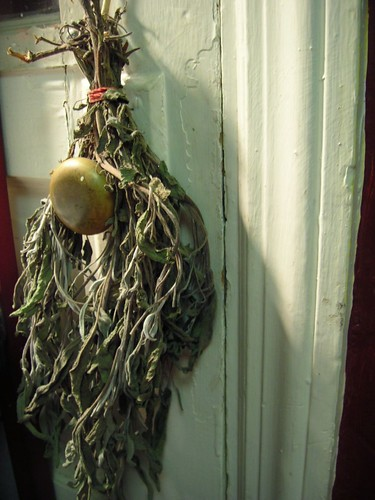 Sage from Flat Rock Farm dried on my backdoor knob