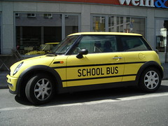 school bus, mini cooper school bus, car school bus, van school bus, school bus van, school vehicle,