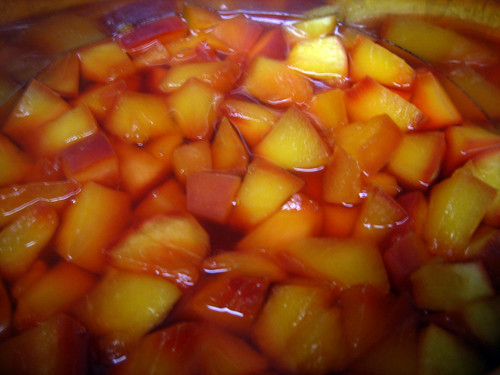 nectarines poached in white wine syrup