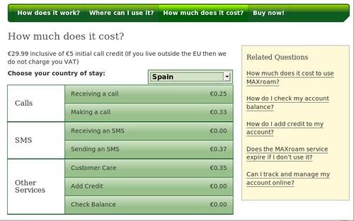 MAXroam pricing for Spain