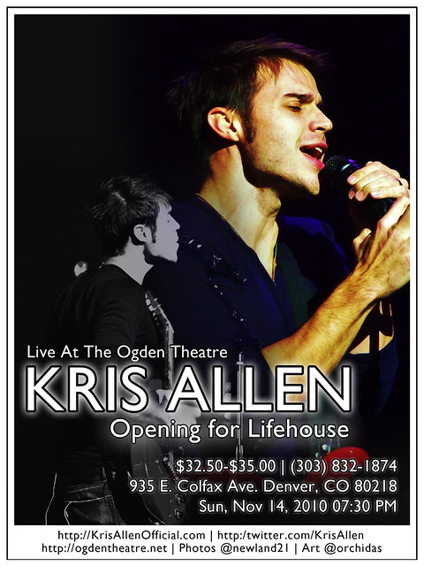 Kris Allen Promo Art – Ogden Theatre, Denver, CO