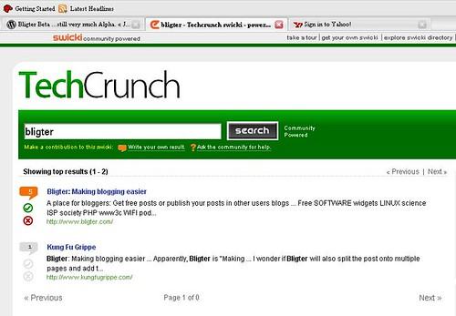 Bligter on TechCrunch Swicki
