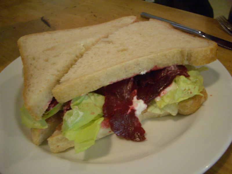 Beetroot, caramelised onion and gots curd sandwich at Commercial Bakery