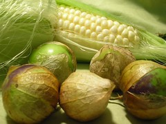 corn and tomatillos