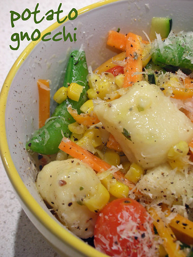potato gnocchi with summer vegetables
