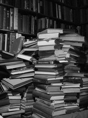 books in a stack (a stack of books) by austinevan