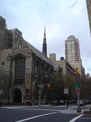Steeple with skyscraper