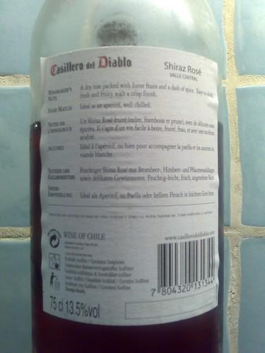Casillero del Diablo Shiraz Rosé 2006 back label