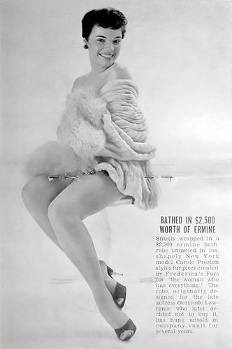 Carole Preston, Bathed in Ermine - Jet Magazine Dec 22, 1955 by vieilles_annonces.