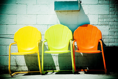 Retro chairs in the sun