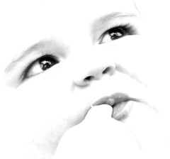 black and white close up of baby's face