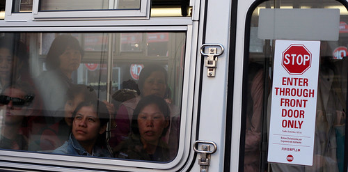 Puzzled bus riders