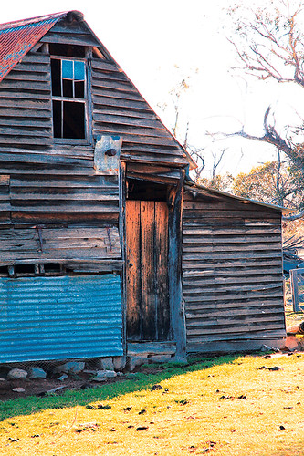 Highly processed photo of a farm shearing shed.