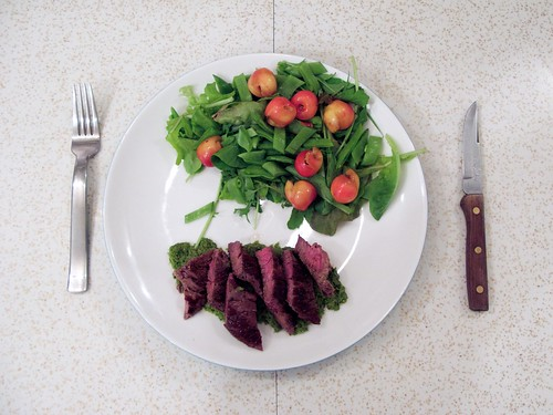 Garlic Scape and Radish Green Pesto with Hanger Steak and CSA Salad