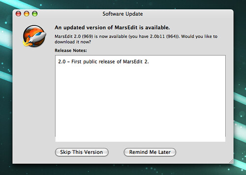 MarsEdit Software Update