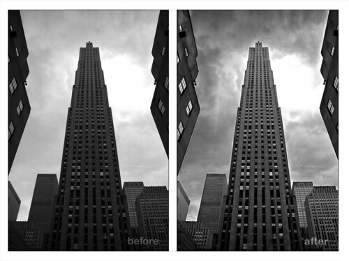 Top of the rock - before and after edit