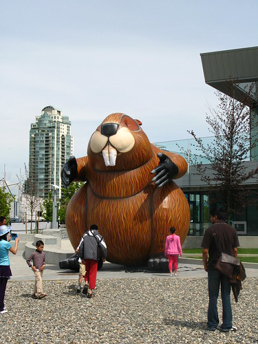 Giant inflatable beaver at the Olympic Village