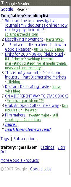 Updated Google Reader mobile