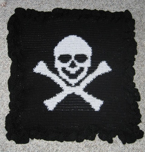crocheted jolly roger baby blanket