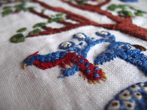 pocket - embriodery finished detail bird